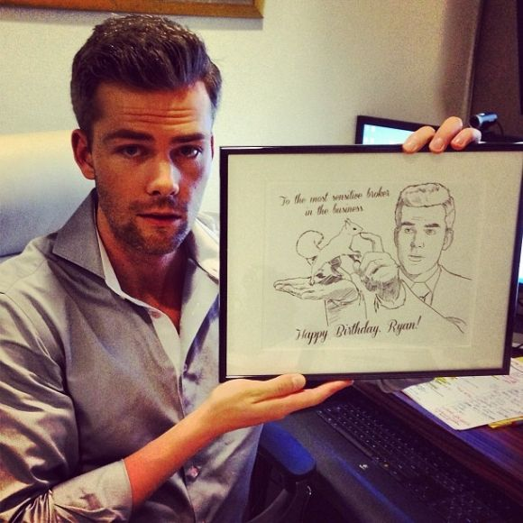 Yes, that's Ryan Serhant holding a drawing of him feeding a squirrel. You're welcome. Tune into #MDLNY tonight for more Ryan!