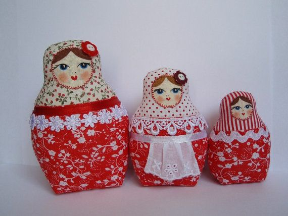 A Set of Red Soft Matryoshkas (cloth Russian babushka dolls) by OksanikaK on Etsy