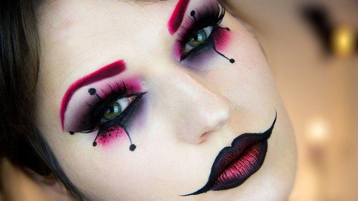 maquillage Halloween yeux avec fard cyclamen et noir