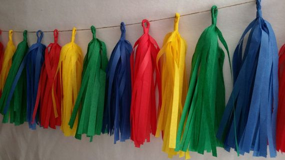 ONLY 14.99, 20 Tassel Tissue Paper Garland, Paw Patrol Party Decorations, Building Blocks, Birthday Party, Sesame Street Party, Red Yellow