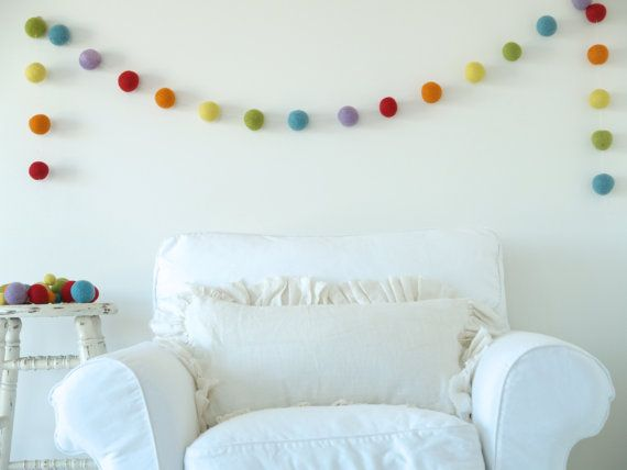 Rainbow Felt Garland made with LARGE felted balls - Christmas Tree, Holiday Decorating, Xmas Decor Banner, Rustic Country, Baby Nursery, 8f