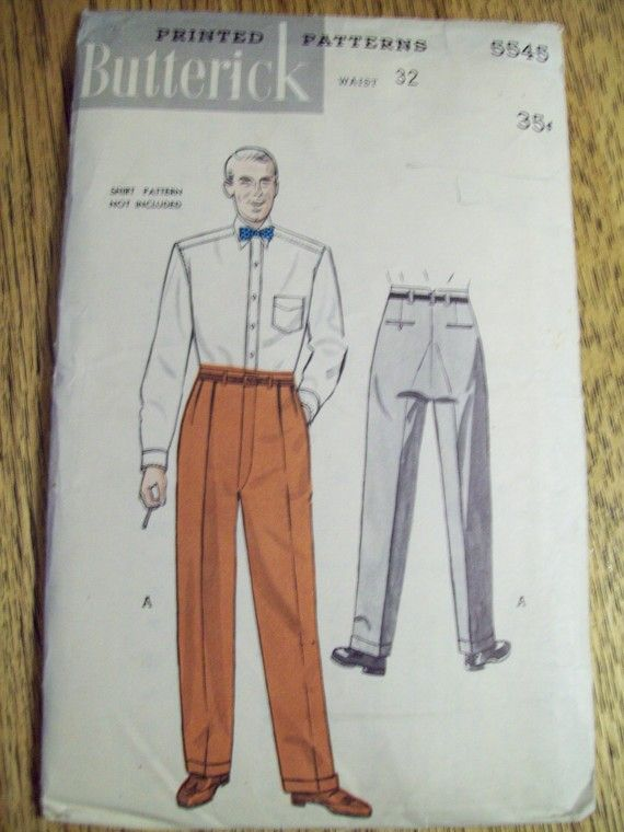1950 S Mens Butterick Patterns Sewing Pattern