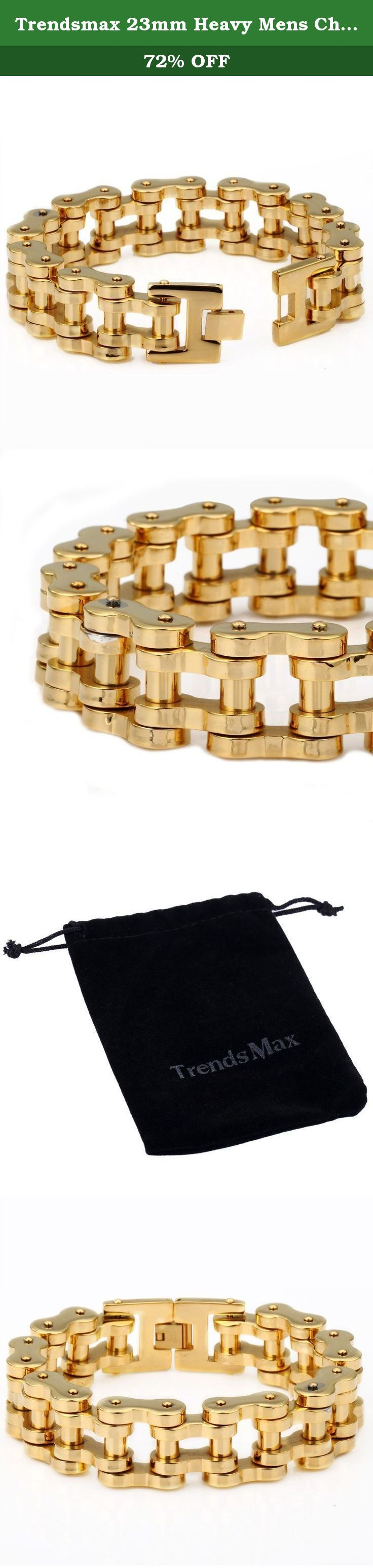 Trendsmax 23mm Heavy Mens Chain Boys Gold Tone 316L Stainless Steel Bracelet Biker Jewelry Motorcycle. Trendsmax 23mm Wide Heavy Mens Chain Gold Tone Biker Jewelry Motorcycle Chain 316L Stainless Steel Bracelet,Material is 316L Stainless Steel,High Quanlity! Fashion Bracelet.Perfect Gift for Father's Day, Christmas Gift.