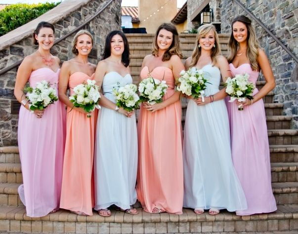 Pale Pink Bridesmaid Dresses Beach