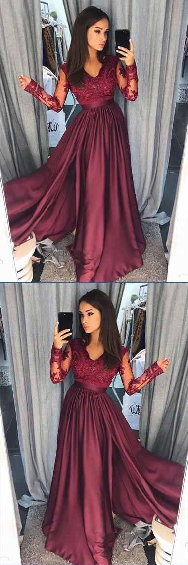Burgundy Satin Long Sleeves A-line Long Prom Dresses Evening Dresses, M157 #Burgundy #Longpromdress #Aline #Eveningdress