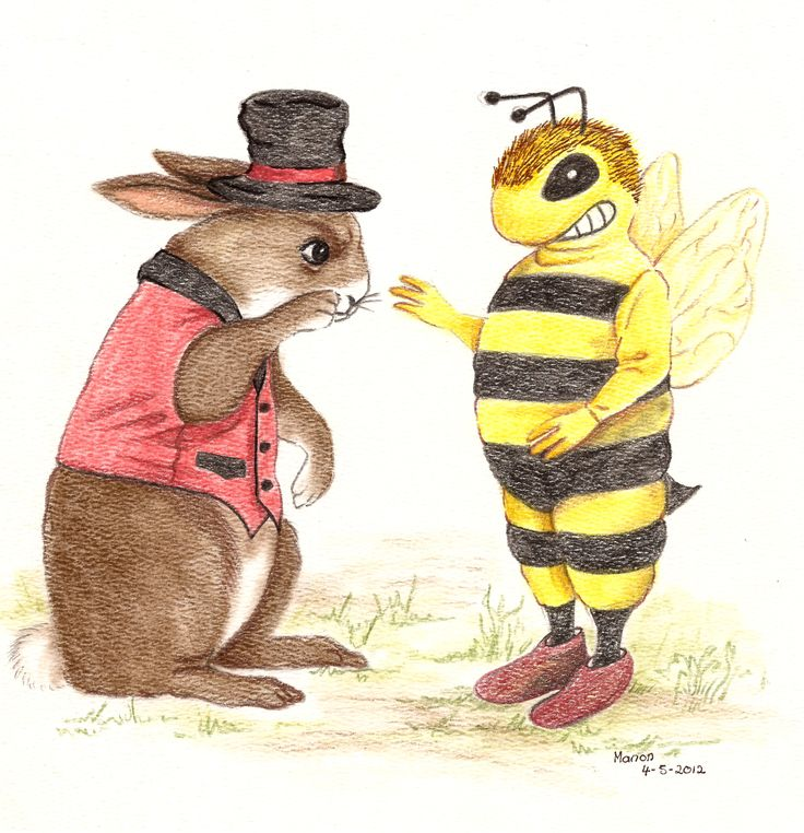 Colour pencil drawing. Rabbit and Bee, from the book, LUCY'S DREAMS. http://www.gypsyshadow.com/ManonDaniels.html#top