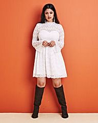 High Neck Long Sleeve Lace Dress