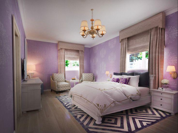 Интерьер спальни для девочки. Сетло-розоые и фиолетовые тона в оформлении. Автор: дизайнер интерьера Татьяна Зайцева.