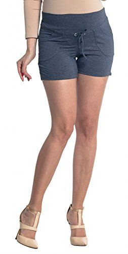 Zeta Ville  Womens Maternity Short Trousers Pockets Pants  Waistband  259c Jeans Melange US 6 L * See this great product.Note:It is affiliate link to Amazon.