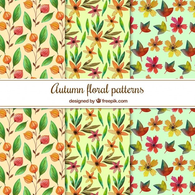 Free vector Watercolor autumn floral patterns #22555