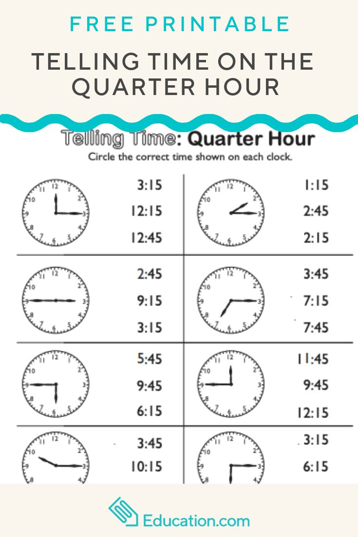 Telling Time On The Quarter Hour Match It Printables
