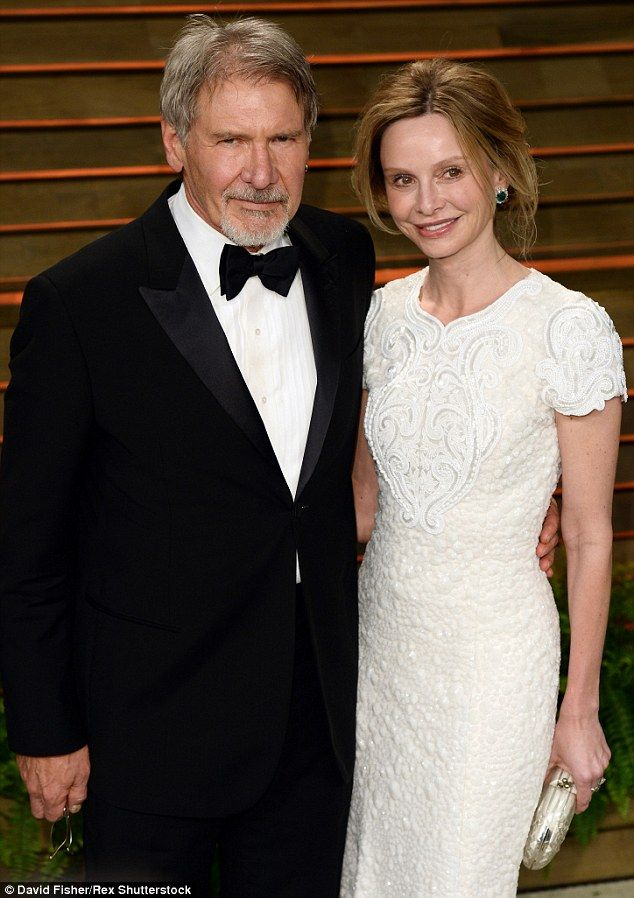 Third marriage: Ford, 73, met Ally McBeal star Calista Flockhart, 50, at the Golden Globes in 2002, a few months after Mathison had filed for divorce. They wed in 2010 and he adopted the actress' adopted son Liam. They're pictured together in 2014