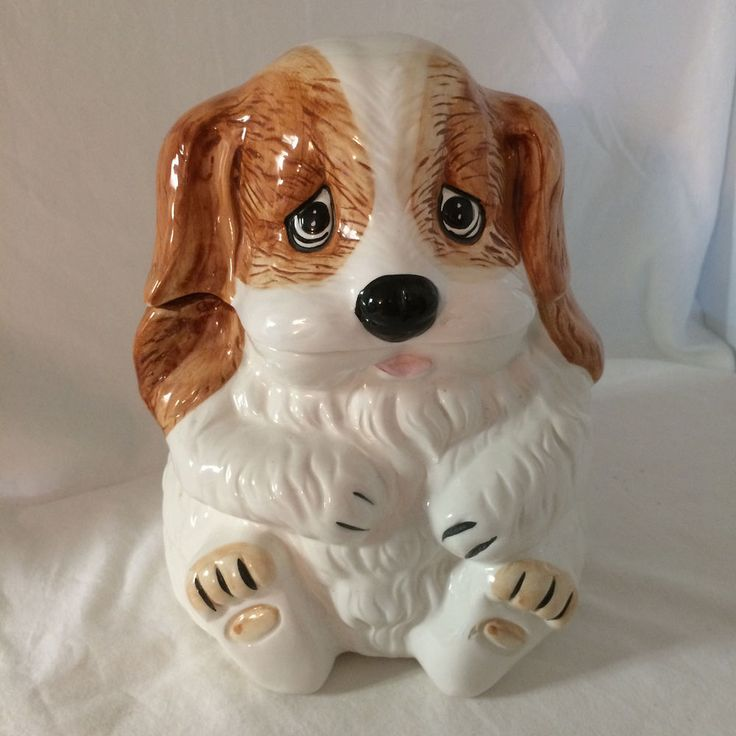 Vintage Ceramic Barking Dog Treat Cookie Jar Brown White