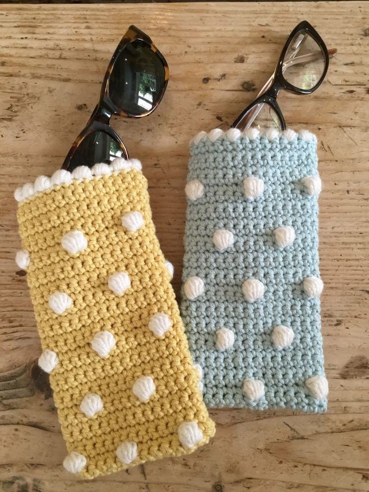 LoveCrochet |  If you loved Kate Eastwood's fabulous drawstring bag last week, make the sunglasses case to match!  This week's make is a fun and bobbly glasses case, and whether it's for your sunglass