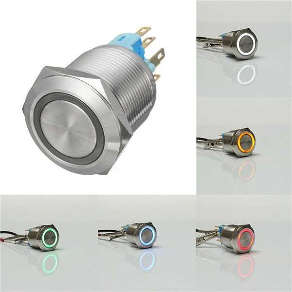 12v 6 Pin 22mm Metal Push Button Latching Switch Waterproof Switch Metal Waterproof Machine Tools
