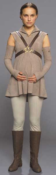 This battle tunic, made to accomodate the senators pregnancy, is worn by Padme Amidala in the climax of Star Wars Episode III.