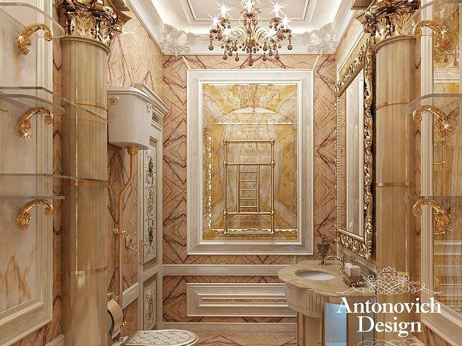 Дизайн ванной комнаты. Общий #стиль освещения поддерживают канделябры в спальнях и даже в ванных комнатах. Вы можете полюбоваться на убранство двух похожих помещений для ухода за собой.