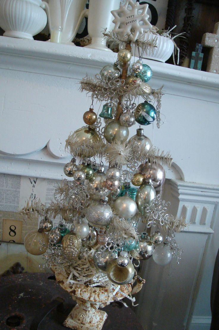 German Feather Tree Loaded Up With Beautiful Old Ornaments! From The  Awesome Website: Patina White