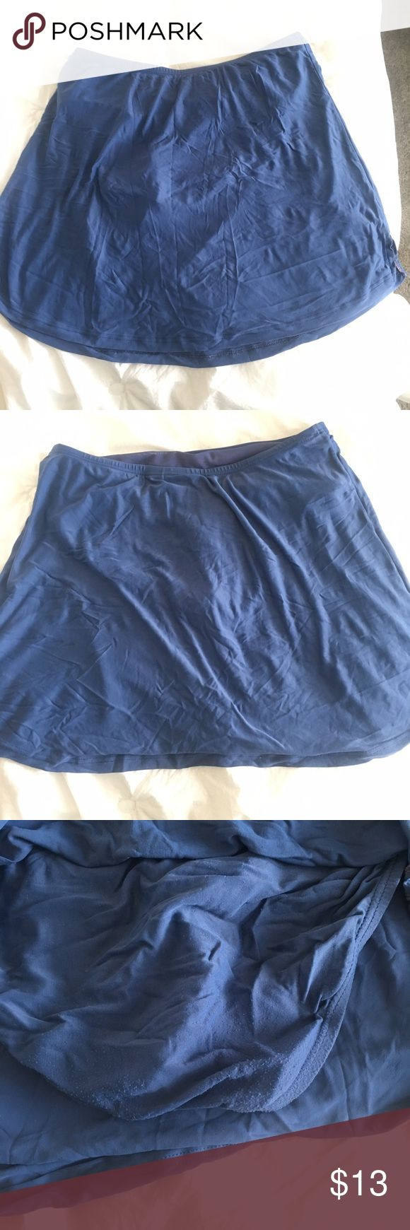 """Blue Skirt Bikini Bottoms Has panty part attached to skirt for a more """"modest"""" look. It is a really pretty dusty blue is best I can describe, true to pictures. Panty part has some wear you can see on outside from sitting in hot tub/ pool. Very comfortable. Skirt part stretches out a lot due to not liking the washing machine. If that bothers you, its best worn dry for laying in the sun or strolling around town on vacation. Fits best 8-12. croft & barrow Swim"""