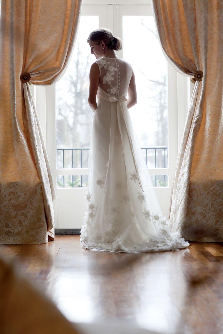 Romantic handmade  silk flower bridal gown