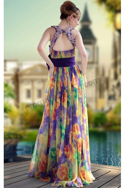 Purple Print Flower Halter Tencel Formal Dinner Dress 2013
