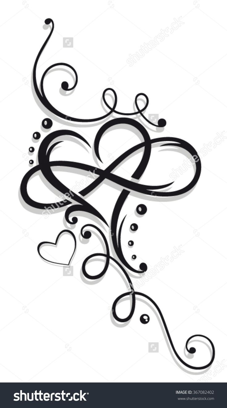 Heart And Infinity, Tattoo For Valentines Day Stock Vector ...