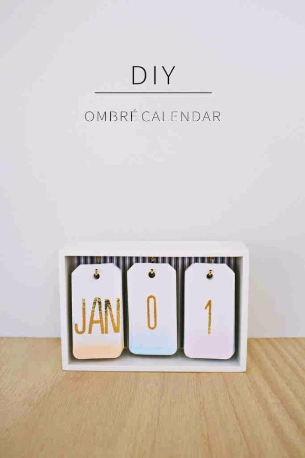 Best DIY Gifts for Girls - DIY Ombre Calendar - Cute Crafts and DIY Projects that Make Cool DYI Gift Ideas for Young and Older Girls, Teens and Teenagers - Awesome Room and Home Decor for Bedroom, Fashion, Jewelry and Hair Accessories - Cheap Craft Projects To Make For a Girl for Christmas Presents http://diyjoy.com/diy-gifts-for-girls