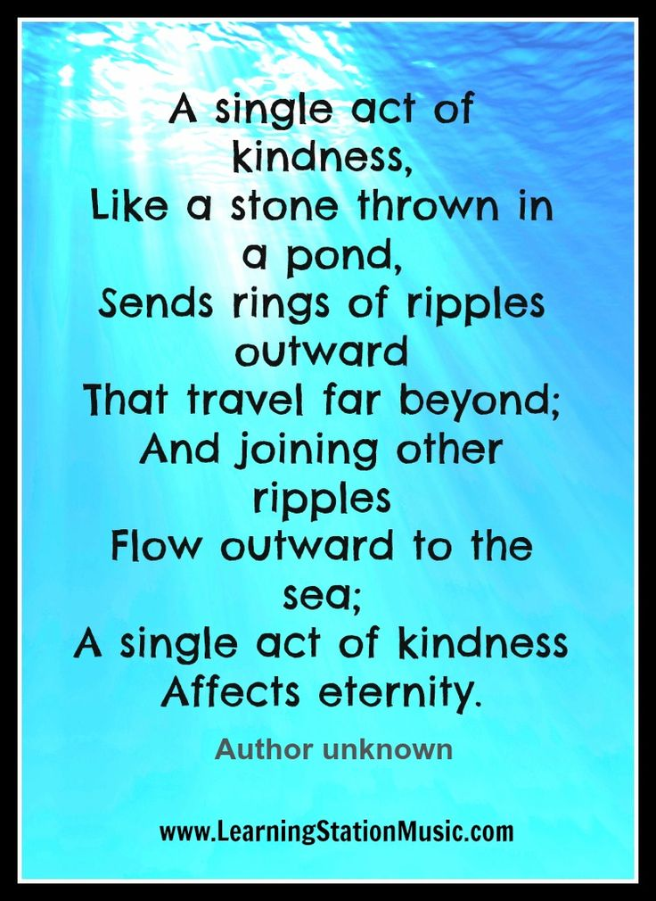 A Single Act Of Kindness Like A Stone Thrown In A Pond