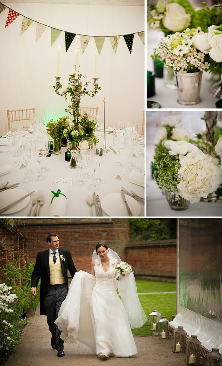 Chaplain's Garden Marquee looks wonderful for a spring wedding - the bridal flowers were classic white with a stunning mixture of Roses, Chincherinchee, Freesia and Guelder Rose. Photography by Confetti Shots