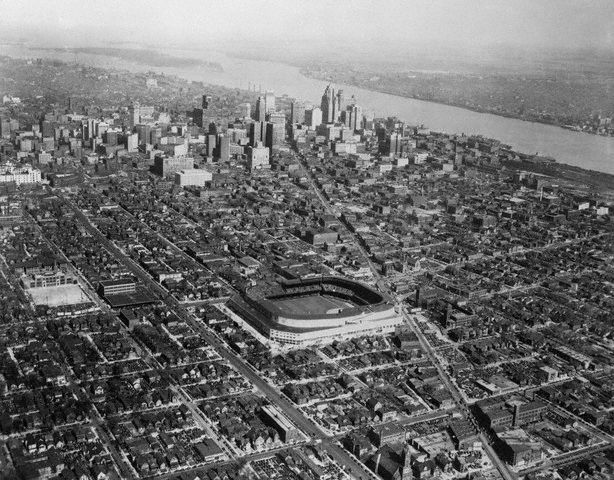Tiger Stadium aerial view, showing Detroit in its prime. 1951