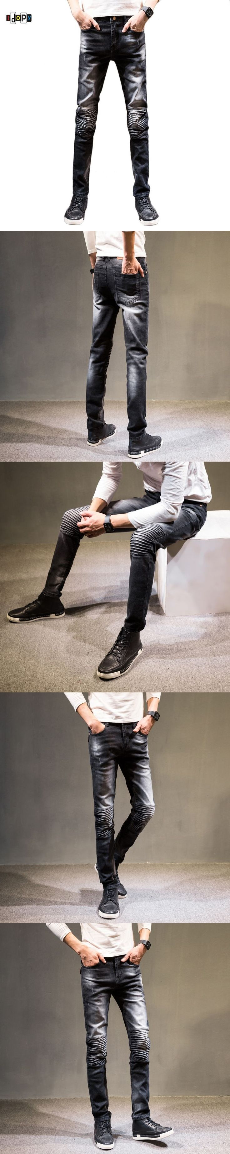 Idopy Men`s Ripped Biker Jeans Vintage Acid Washed Slim Fit Super Skinny Stretchy Denim Pants Pencil Jeans For Youth