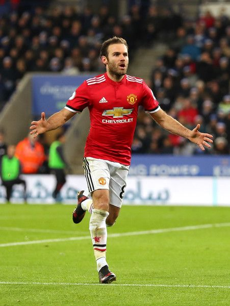 Juan Mata of Manchester United celebrates scoring his team's second goal during the Premier League match between Leicester City and Manchester United at The King Power Stadium on December 23, 2017 in Leicester, England.
