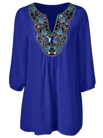 GET $50 NOW | Join RoseGal: Get YOUR $50 NOW!http://www.rosegal.com/plus-size-blouses/plus-size-embroidered-rhinestone-embellished-743737.html?seid=8569013rg743737
