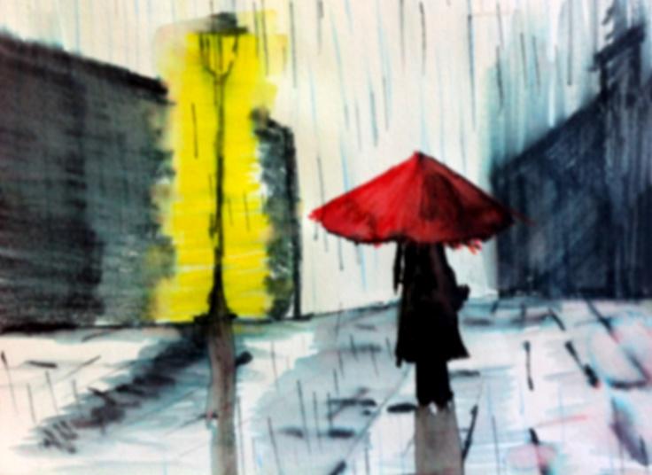 Lluvia y paraguas rojo