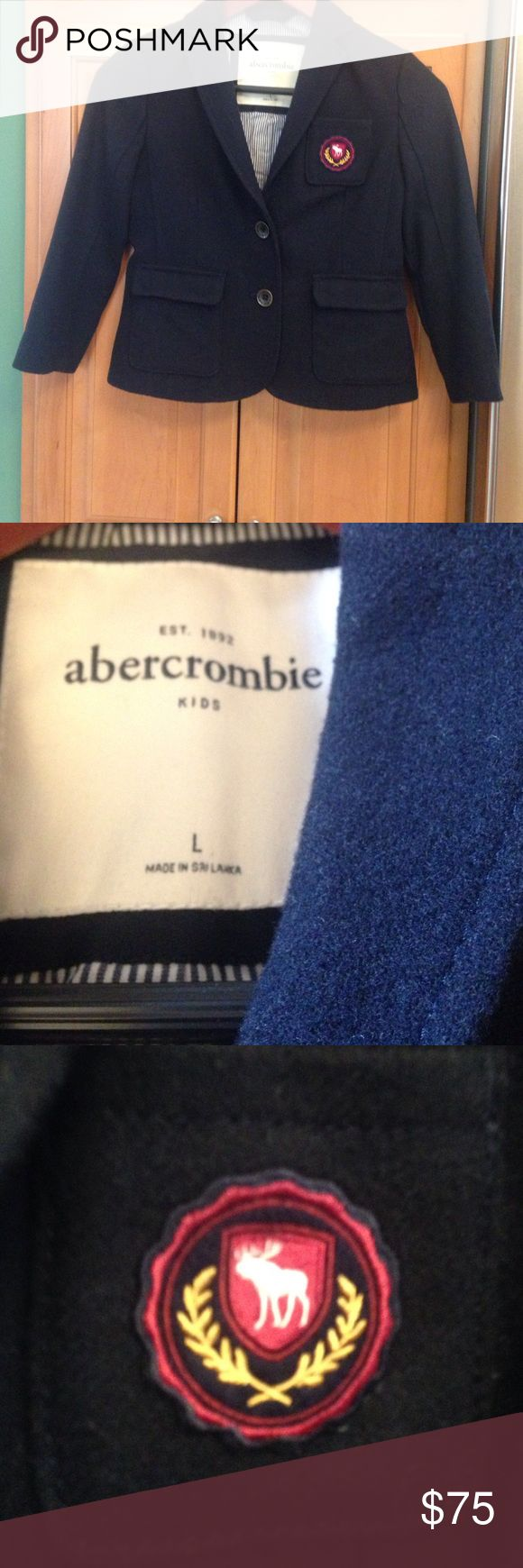 Abercrombie Girls Navy Blazer L Worn once. This darling coat is lined. It is a wool fabric. abercrombie kids Jackets & Coats Blazers