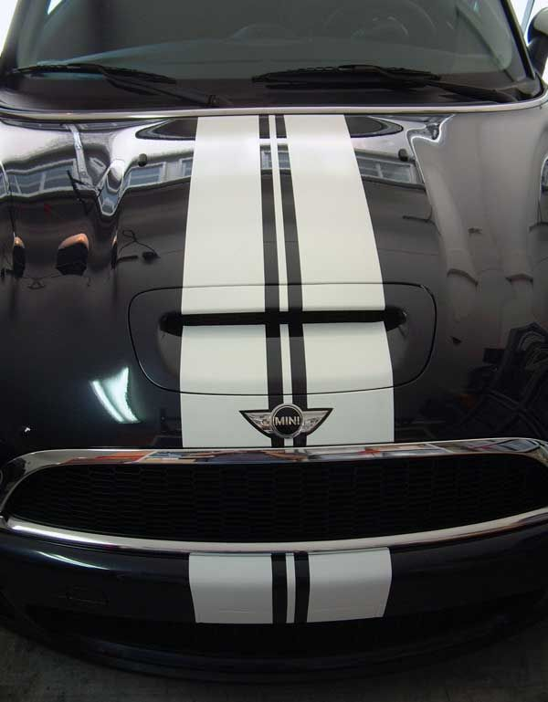 "12"" Mini Cooper Racing stripes decals graphics - Click Image to Close"