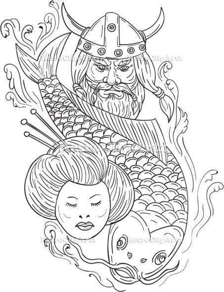 Viking Carp Geisha Head Black and White Drawing Vector ...