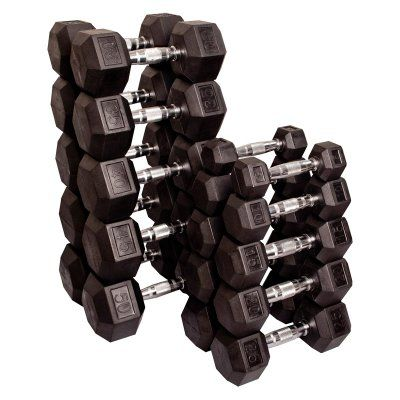 Body Solid Rubber Hex Dumbbell Set - SDRS550