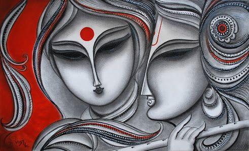 black and white radha n krishna and red background
