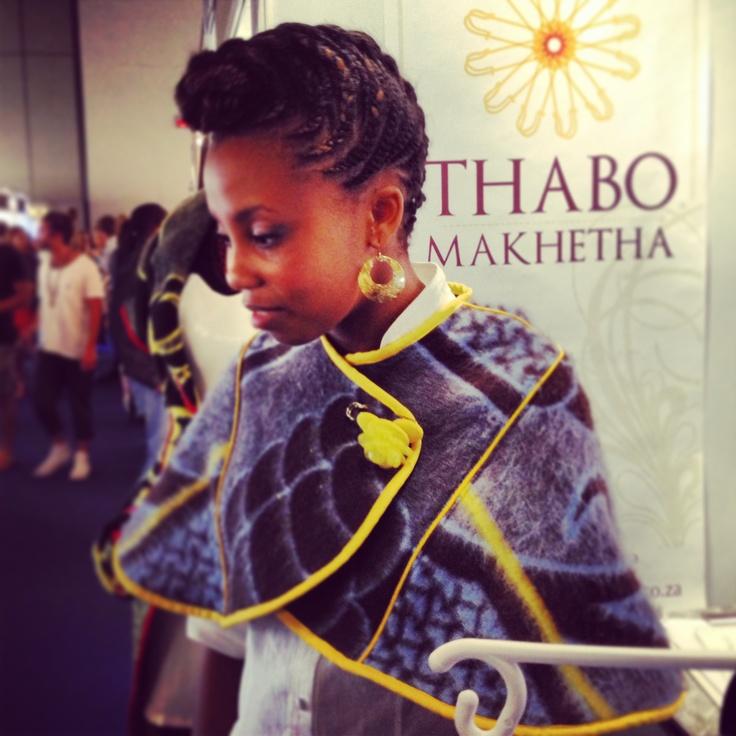 Thabo Makhetha converts these age-old traditional Sotho blankets into to trendy shawls #unitedrepublic