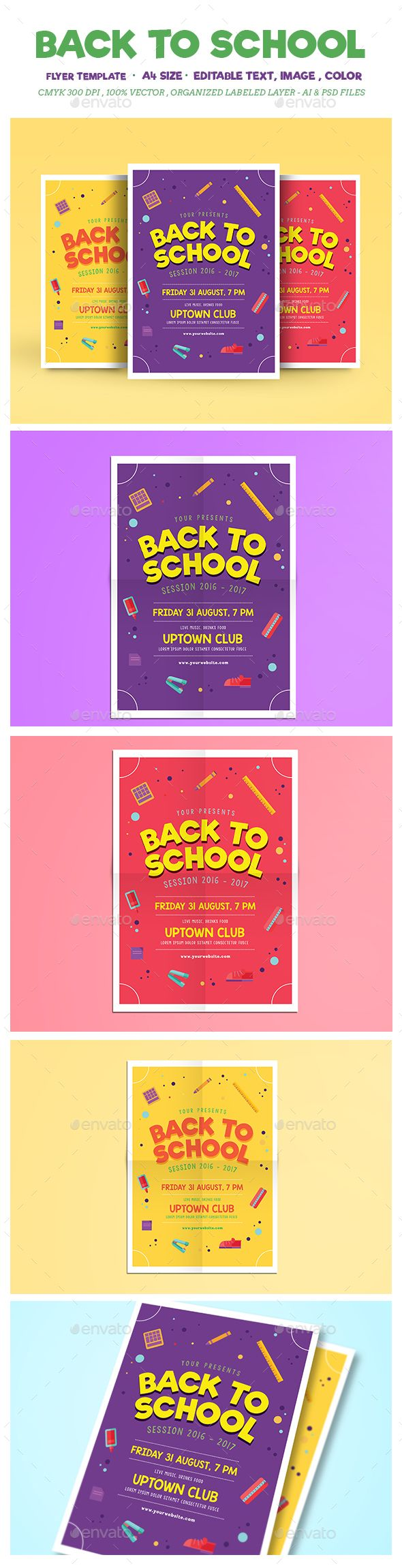 Back to School Flyer Template PSD, AI Illustrator. Download here: https://graphicriver.net/item/back-to-school/17141195?ref=ksioks
