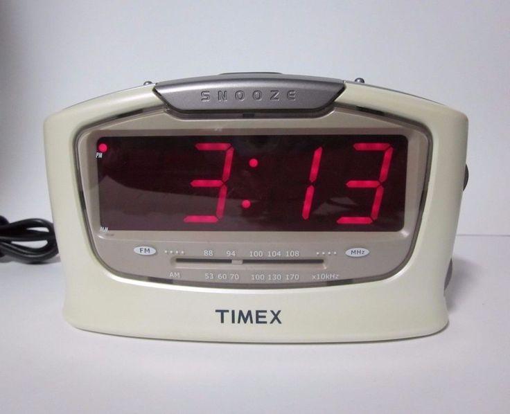 Timex Alarm Clock Radio AM/FM White Model T254W Large JUMBO Red LED Display #Timex