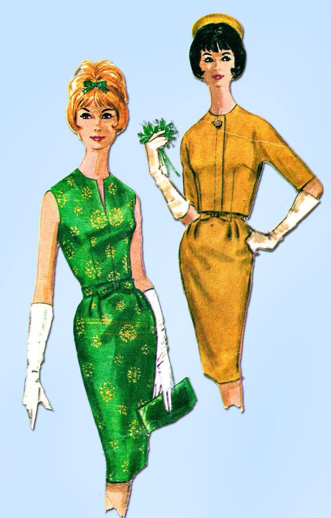 """McCall's Pattern 6086 Misses' Cocktail Dress Pattern with Jacket Dated 1961 Complete Nice Condition 19 of 19 Pieces Counted. Verified. Guaranteed. Nice Condition Overall Size 14 (34"""" Bust) We Sell the"""