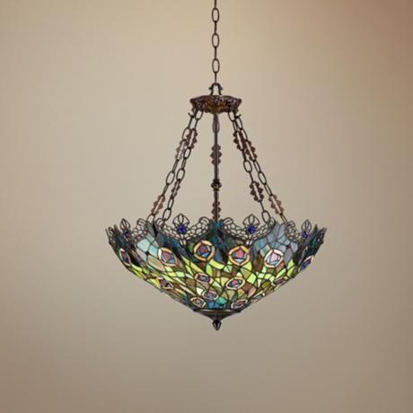 "Peacock Feather 3-Light Tiffany Art Glass Pendant | LampsPlus.com $299.99 25.5""H 22""W"