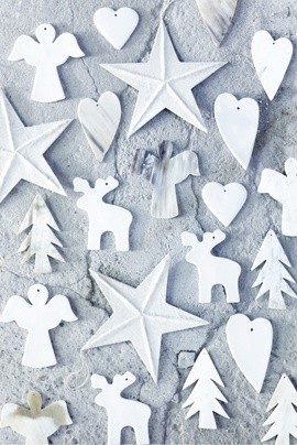 white christmas ornaments (idea: instead of making all paper ornaments by hand, let's mix in some white painted ornaments :)