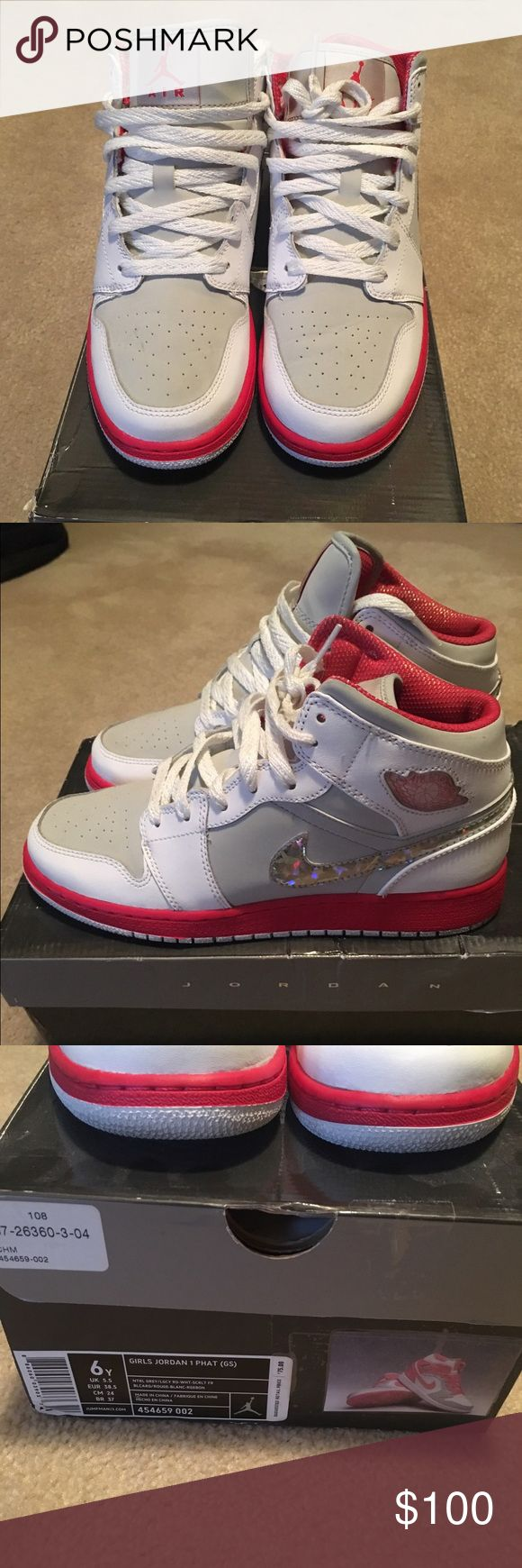 Nike Air Jordan Retro 1 Nike Air Jordan retro 1; white & pink with sparkly metallic Nike sign; mid top; orig box; 9/10 condition; great condition; size 6Youth (big kids, grade school) equivalent to women size 8 Jordan Shoes Sneakers