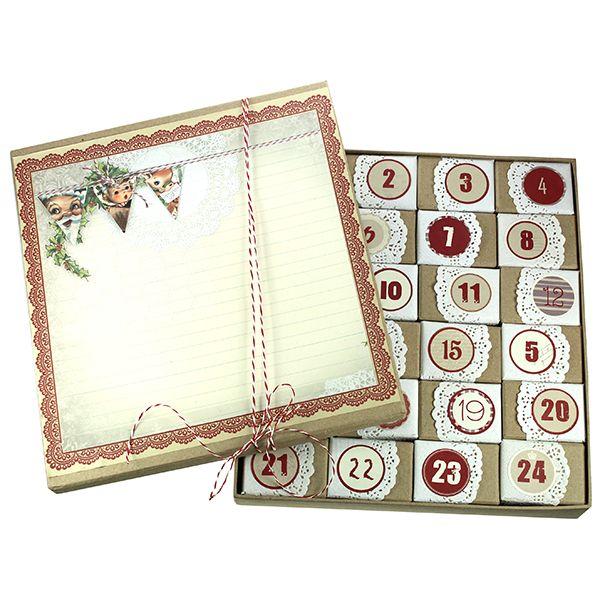 Koristele pahvirasiat kakkupapereilla ja numerotarroilla. Helppo ja upea joulukalenteri!