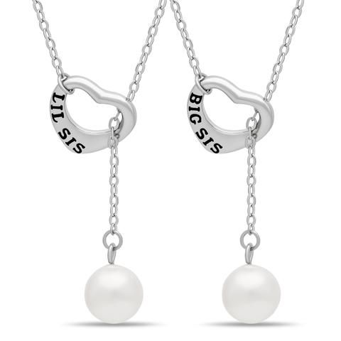 Sister Lariat Heart Necklace Set for Big Sis Lil Sis, 925 Silver, Silver Plated Freshwater Pearl Necklace - TZARO Jewelry - 1