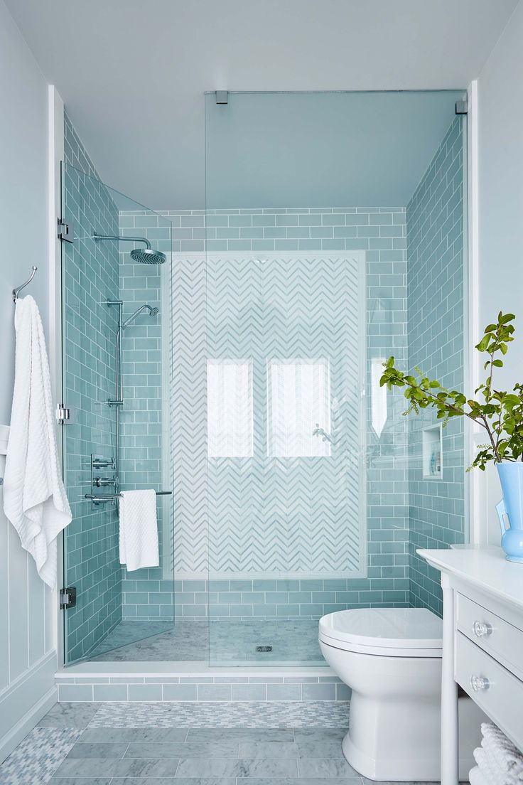 Aqua shower tile with grey floor tile in Robin's country bathroom. Sarah Richardson - Sarah off the Grid - HGTV