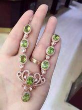 Olivino peridoto verde Natural Collar de piedra natural Colgante S925 Collar de plata Joyería de las mujeres de moda Elegante de La Corona(China)